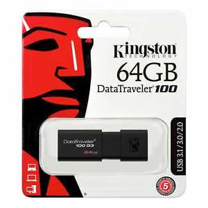 Kingston Digital 64GB USB 3.0 DataTraveler 100 G3 DT100G3