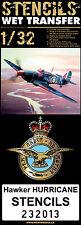 232013 HGW Wet Transfers - Hawker Hurricane Mk.II Stencils 1:32