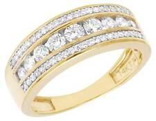 14K Yellow Gold Genuine Diamond Men's Channel Wedding Band Ring 1 1/3 CT 8MM