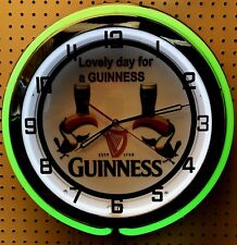 "18"" GUINNESS Beer Sign Double Neon Clock"