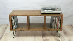 Retro Industrial Wooden Vinyl Record Player Cabinet Stand TV Unit 100cm Wide