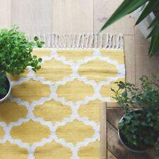 Flat Weave Thin Mustard Yellow and White Geometric Pattern Rug 120cm x 180cm