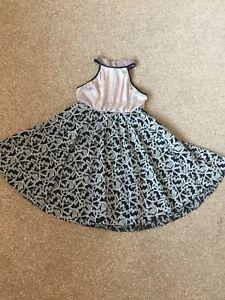Girls Grey / Black Velvet & Lace Lyrical Dance Dress Age 8-9-10 years