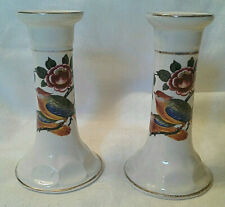 Vintage Pair of Ceramic Candle Holders w/Bird and Flower Motif