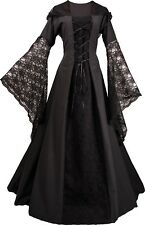 Mittelalterliches Gotik Karneval Halloween Kleid Kostüm Eloise Schwarz XS-60