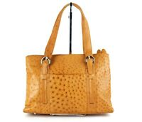 6f57b028cf Genuine OSTRICH Yellow Leather Hand Bag Multi Double Chamber Handbag Purse