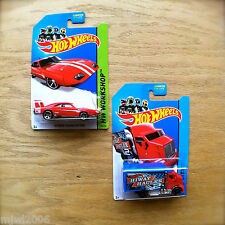 2014 Hot Wheels '69 DODGE CHARGER DAYTONA & HIWAY HAULER 2 diecast lot Mattel