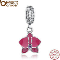 Nice Authentic S925 Sterling Silver Flower Charm Pendant Fitting Bracelet Bangle
