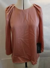 Zara women nude pink satin blouse top with shoulder pleats size EUR USA S