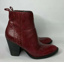 Womens Boutique 9 Raiden Ankle Boots Red Leather Snakeprint Western Cowboy Boots