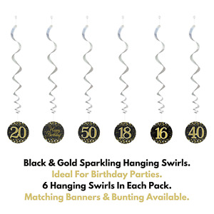 Happy Birthday Black Gold Sparkling Party Decorations Holographic Hanging Swirls