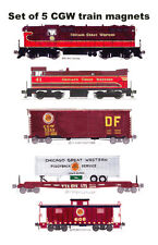 Chicago Great Western Locomotives, Freight Cars, Caboose set 5 magnets Fletcher