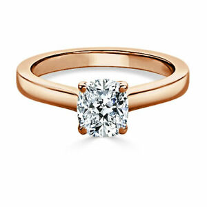 1.00 Ct Moissanite Cushion Cut Rose Gold Birthday Ring 14K Solitaire Girl ring