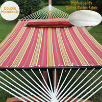 """55"""" Quilted Fabric Hammock W/ Pillow Double Size Spreader Bar Heavy-duty 450 lbs"""