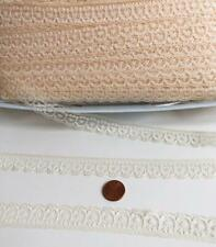 """Vintage 3/4"""" wide Lace 10 yards Natural Lot 25 Soft Airy Beige Cream"""