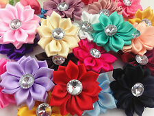 DIY 5/25/50PCS Satin Ribbon Flower with rhinestone Bead Appliques~Craft/Trim