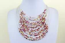 Collier Tour de cou blanc MASAI Masaï perles multi couches tour de cou multi couleur tour de cou