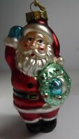 "Christmas Tree Blown Glass Ornament Santa With a Wreath 3.5"" R2-10"