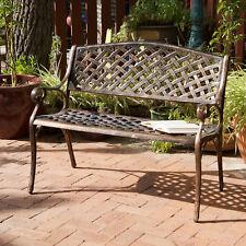 Outdoor Patio Furniture Cast Aluminum Garden Bench in Antique Copper
