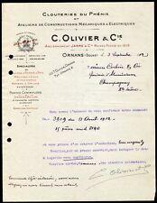 █ Facture 1912 C. OLIVIER et Cie Clouteries du Phénix à Ornans Doubs Clous █