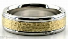 10K TWO TONE GOLD MENS W EDDING BANDS,HAMMERED 6MM SOLID GOLD WEDDING RINGS