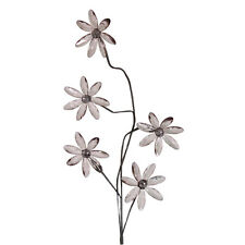 5 smoked black acrylic daisies flowers on stem, contemporary artificial flower
