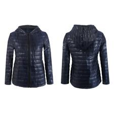 Womens Quilted Coat Lightweight Puffer Bubble Padded Down Winter Jacket Blazer Deep Blue UK 6-8