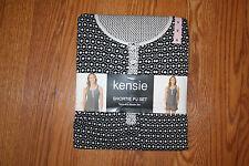 NWT KENSIE 2 Piece Black White Print Top Shorts Pajamas Sleepwear Set S 6-8