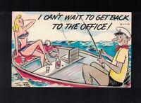 Tony Roy Signed 1958 Comic Risque Postcard - Girl In Bikini Man Fishing In Boat