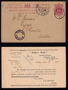 """1905 DAILY MAIL PRINTED PC / FLEET ST CDS / """"TOO LATE"""" FOREIGN BRANCH TO CROATIA"""