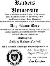 OAKLAND RAIDERS NFL FAN ~CERTIFICATE~DIPLOMA ~MAN CAVE~OFFICE #1SPORTS GIFT