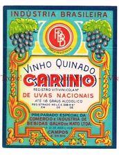 Unused 1940s BRASIL Campos E Do Rio Galho De Malto Carinho Vinho Quinado Label