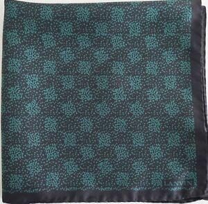 $95 LANVIN Paris Black Teal 100% SILK Pocket Square Handkerchief