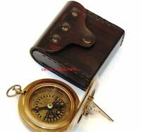Sundial Copper & Antique Vintage Nautical Maritime Brass Compass W/Leather Case