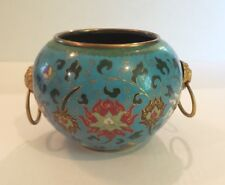 COLORFUL 19th C. CHINESE CLOISONNE ENAMEL BOWL, GILT METAL RING HANDLES