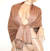 ÉTOLE foulard MARRON Taupe femme châle maxi écharpe soie élégant bufanda G82