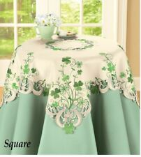 St. Patrick's Day Embroidered Irish Shamrock Polyester Square Tablecloth