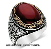 New Handcrafted Red Agate Aqeeq Stone Turkish 925 Sterling Silver Mens Ring Usa
