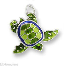 Zarah Zarlite Little Turtle CHARM L Silver Plated Enamel & Jump Ring - Boxed
