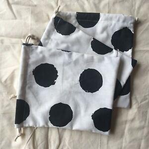 Cotton Linen Drawstring Organised Pouch Party Gift Bag Print Big Black Dots W B#