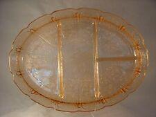 Jeannette Glass CHERRY BLOSSOM PINK Divided Platter 1930's