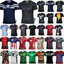 Mens Compression Short Sleeve T-shirt Casual Sports Jersey Superhero Costume Tee