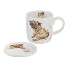 Royal Worcester Wrendale Pug Love Mug & Coaster Set Dog Bone China Gift Boxed