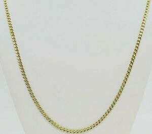 "Real 10K Yellow Gold Cuban Link Chain Necklace 16"" 18"" 20"" 22"" 24"" Curb Chain"