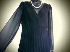 BLACK SHEER DRESS SIZE10  PLEATED SKIRT PARTY LITTLE BLACK DRESS