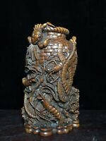 Collect noble natural Boxwood carved Crab shrimp statue Brush Pot Pencil Vase