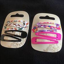 2 x pack 4 butterfly floral hair bendies coloured metal 5cm sleepies snap clips