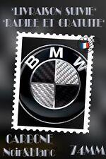 Logo BMW 74mm CARBONNE NOIR BLANC TOUT TYPES DE CAPOT ET COFFRE Série 3E90 E46