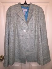 Sag Harbor Aqua/ White/ Gold Tweed Swing Blazer Lined Sz 16