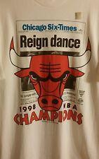 Rare New 1998 Chicago Bulls Six-Time Champions Reign Dance T Shirt Men's XL
